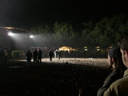 The festival area at night